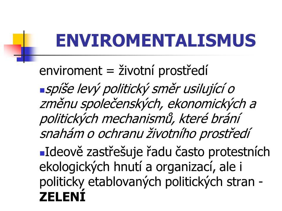 ENVIROMENTALISMUS enviroment = životní prostředí