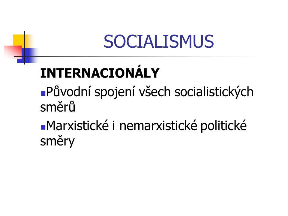 SOCIALISMUS INTERNACIONÁLY Původní spojení všech socialistických směrů