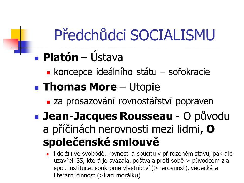 Předchůdci SOCIALISMU