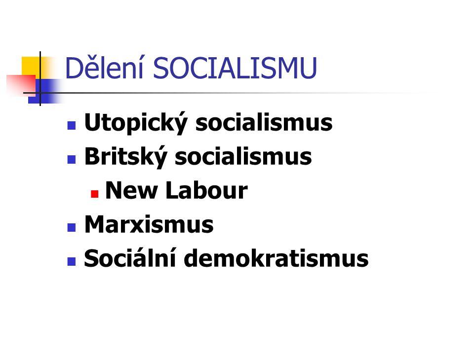 Dělení SOCIALISMU Utopický socialismus Britský socialismus New Labour