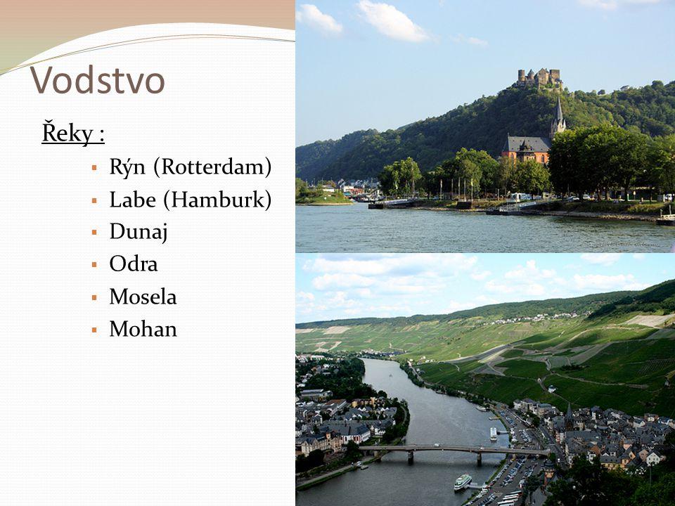 Vodstvo Řeky : Rýn (Rotterdam) Labe (Hamburk) Dunaj Odra Mosela Mohan
