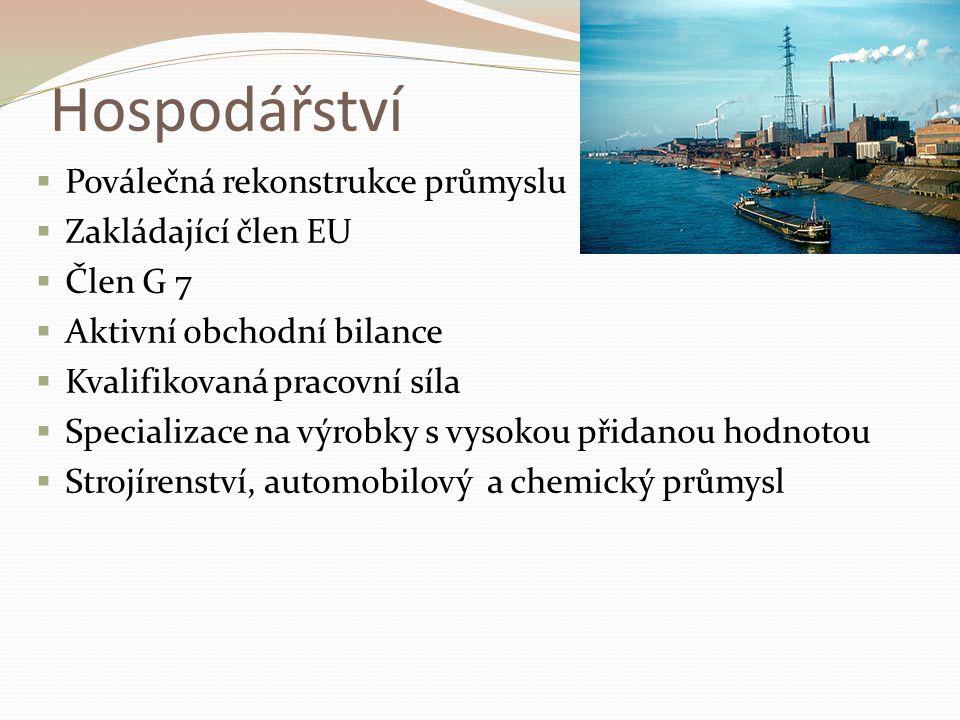 Hospodářství Poválečná rekonstrukce průmyslu Zakládající člen EU