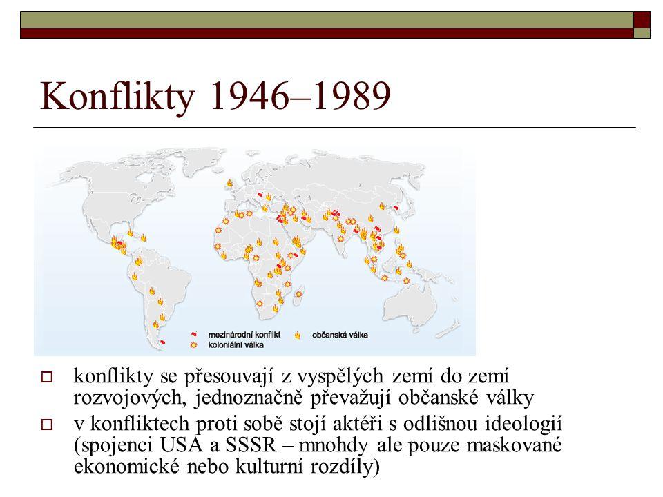 Konflikty 1946–1989 konflikty se přesouvají z vyspělých zemí do zemí rozvojových, jednoznačně převažují občanské války.
