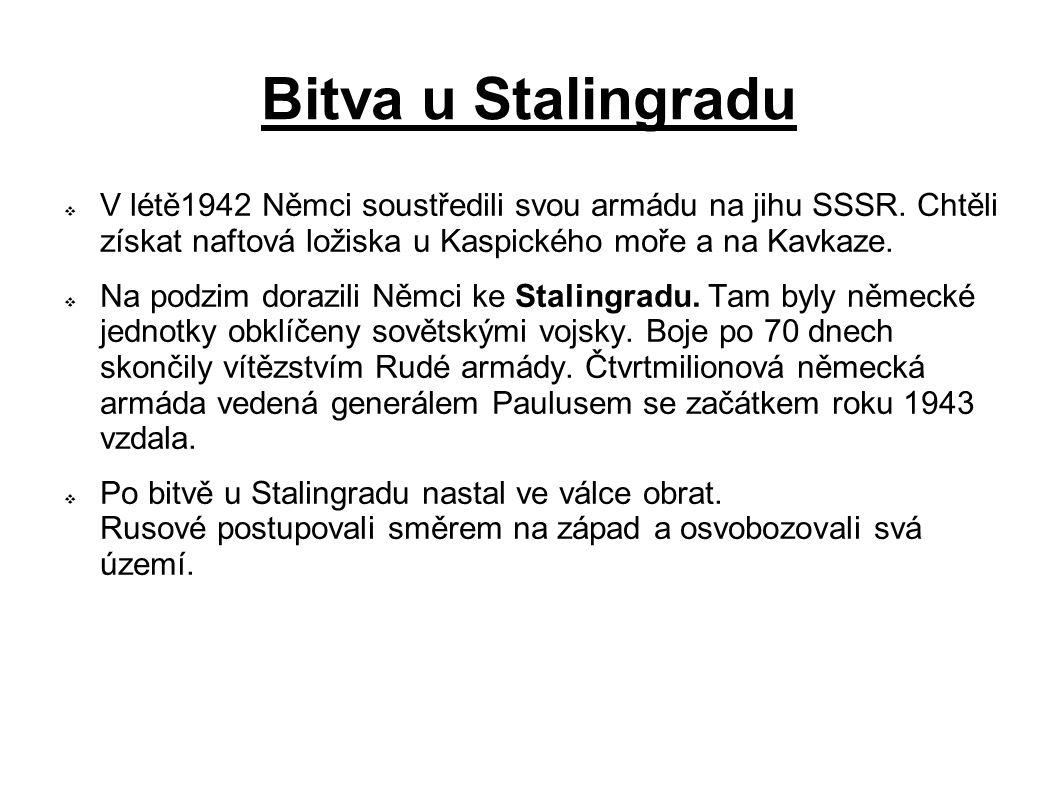 Bitva u Stalingradu V létě1942 Němci soustředili svou armádu na jihu SSSR. Chtěli získat naftová ložiska u Kaspického moře a na Kavkaze.