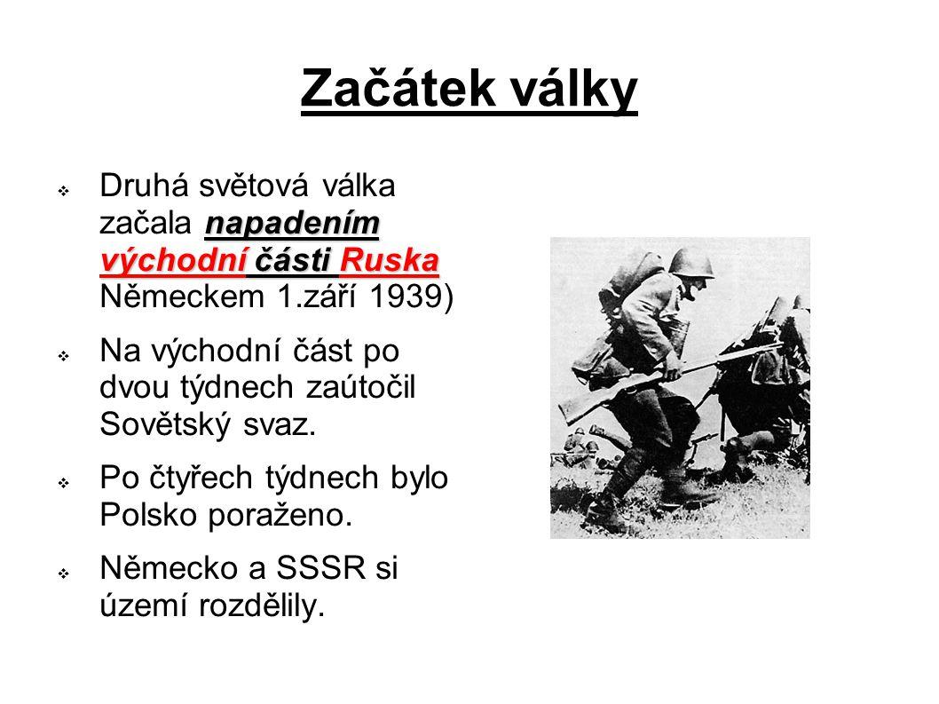 Začátek války Druhá světová válka začala napadením východní části Ruska Německem 1.září 1939)