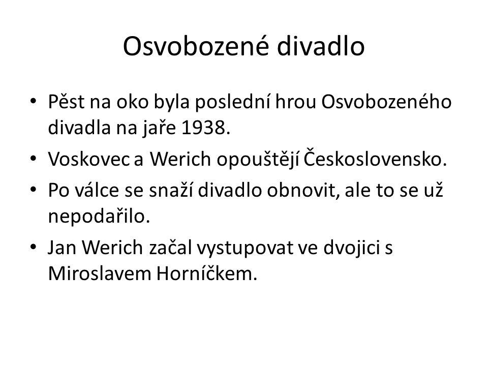 Osvobozené divadlo Pěst na oko byla poslední hrou Osvobozeného divadla na jaře 1938. Voskovec a Werich opouštějí Československo.