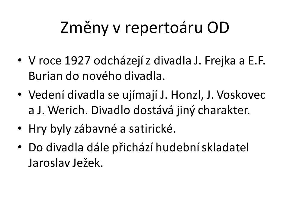 Změny v repertoáru OD V roce 1927 odcházejí z divadla J. Frejka a E.F. Burian do nového divadla.