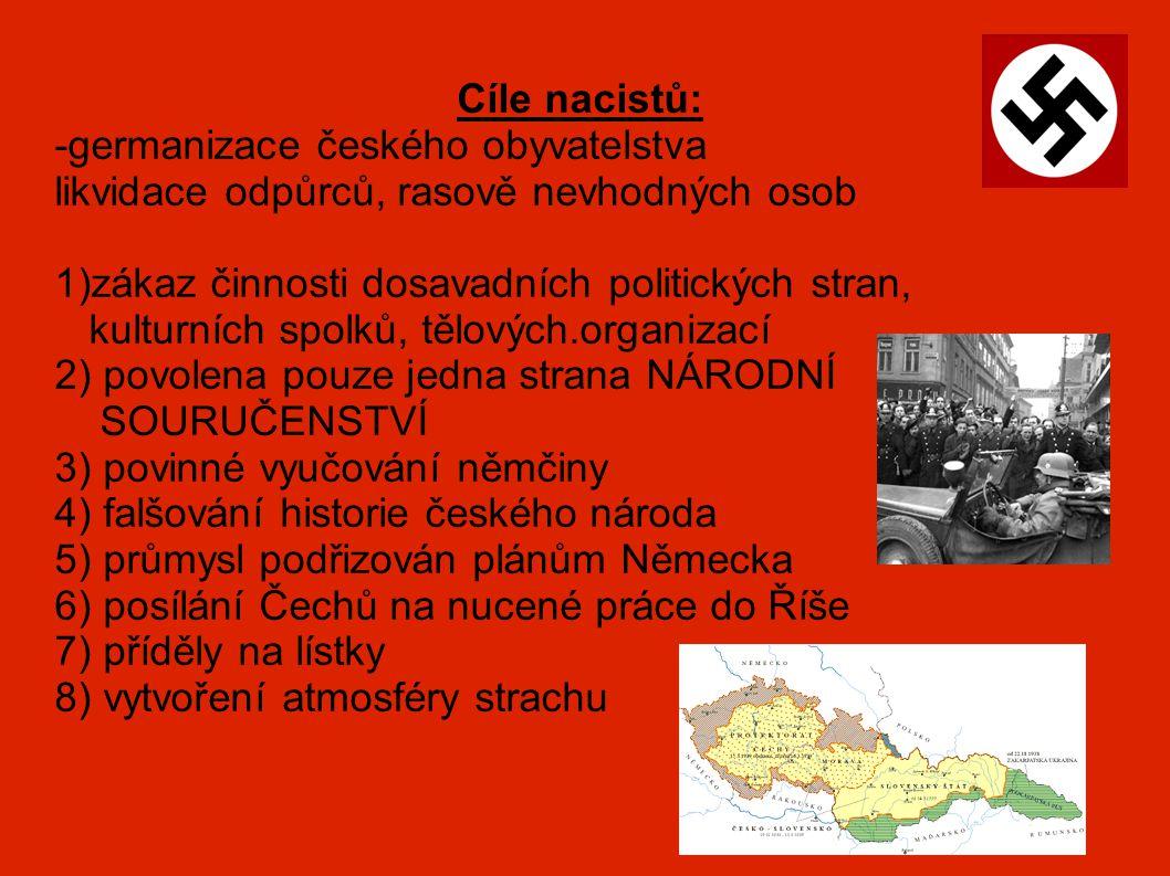Cíle nacistů: -germanizace českého obyvatelstva. likvidace odpůrců, rasově nevhodných osob. 1)zákaz činnosti dosavadních politických stran,