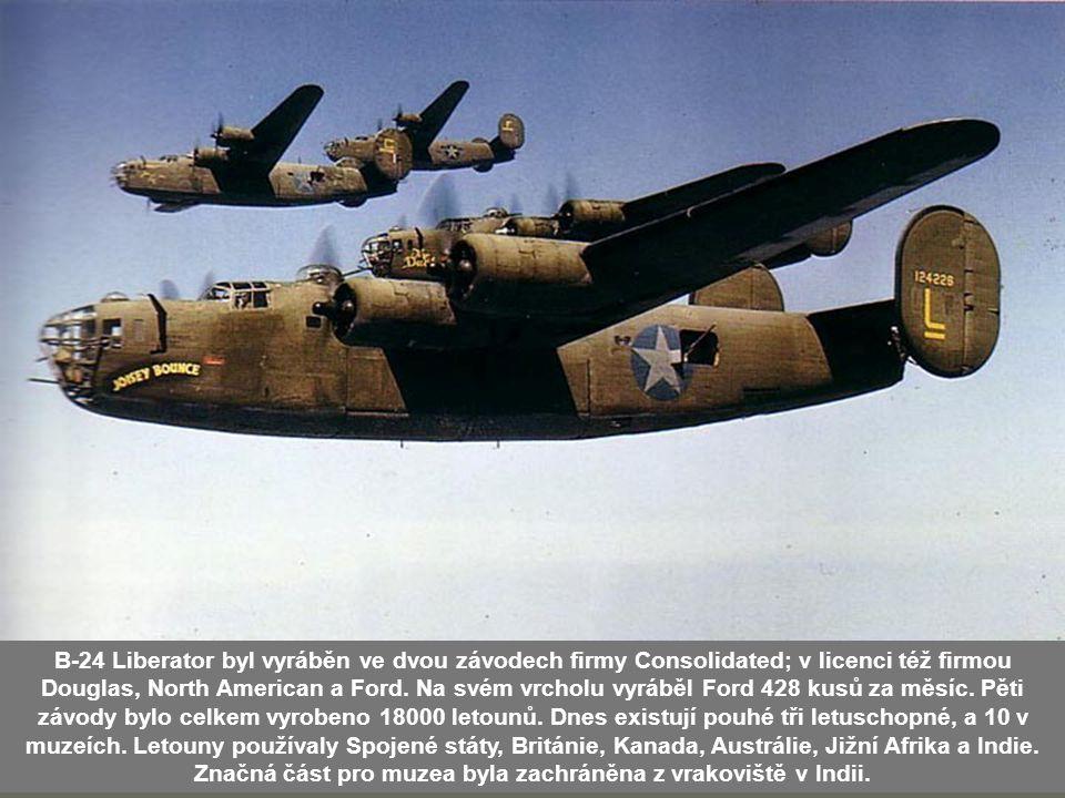 B-24 Liberator byl vyráběn ve dvou závodech firmy Consolidated; v licenci též firmou Douglas, North American a Ford. Na svém vrcholu vyráběl Ford 428 kusů za měsíc. Pěti závody bylo celkem vyrobeno 18000 letounů. Dnes existují pouhé tři letuschopné, a 10 v muzeích. Letouny používaly Spojené státy, Británie, Kanada, Austrálie, Jižní Afrika a Indie. Značná část pro muzea byla zachráněna z vrakoviště v Indii.