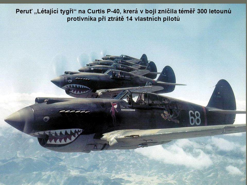 """Peruť """"Létající tygři na Curtis P-40, krerá v boji zničila téměř 300 letounů protivníka při ztrátě 14 vlastních pilotů"""