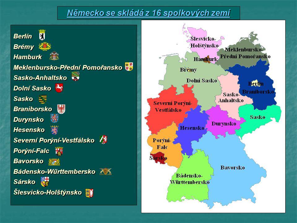 Německo se skládá z 16 spolkových zemí