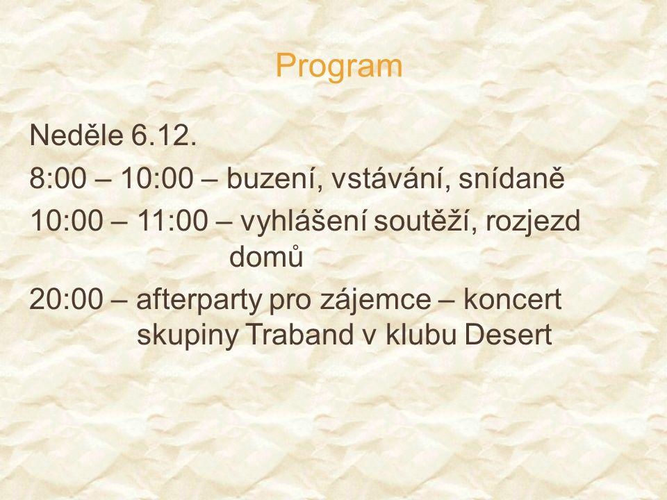 Program Neděle 6.12. 8:00 – 10:00 – buzení, vstávání, snídaně