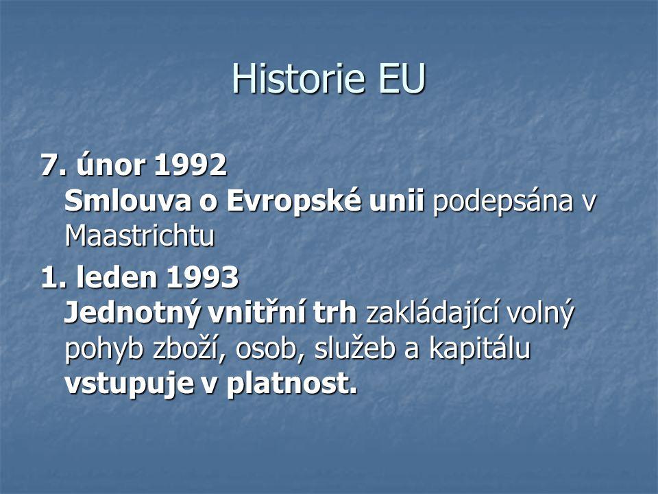 Historie EU 7. únor 1992 Smlouva o Evropské unii podepsána v Maastrichtu.