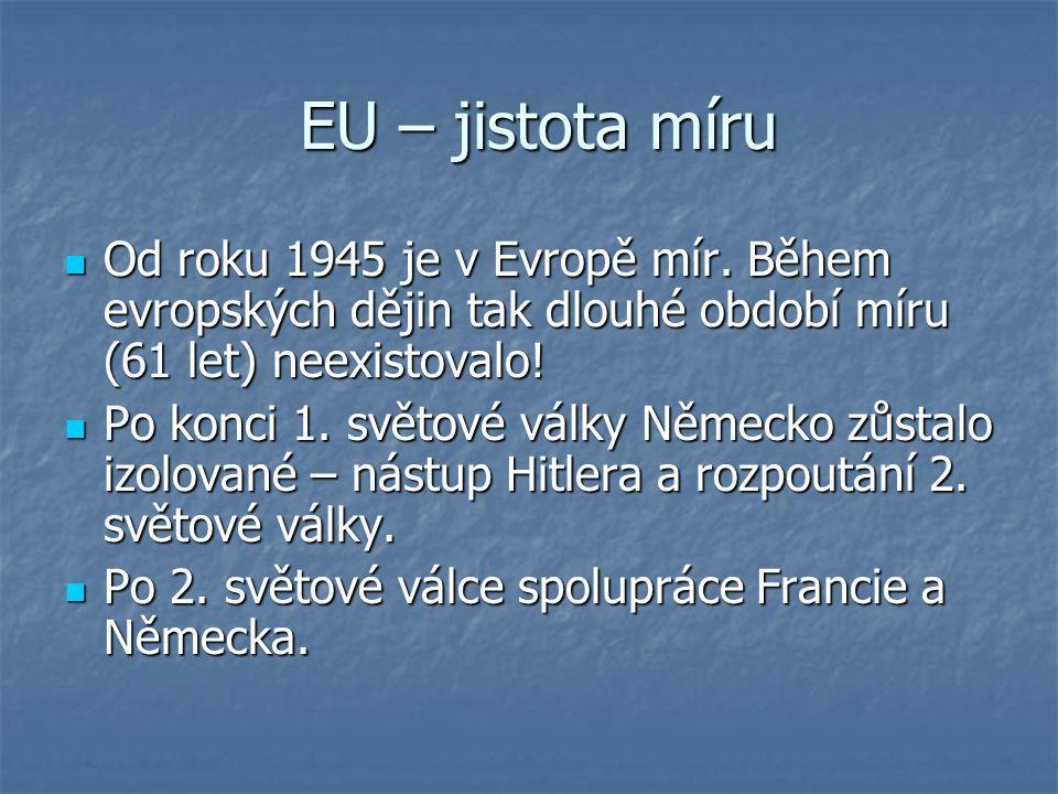 EU – jistota míru Od roku 1945 je v Evropě mír. Během evropských dějin tak dlouhé období míru (61 let) neexistovalo!