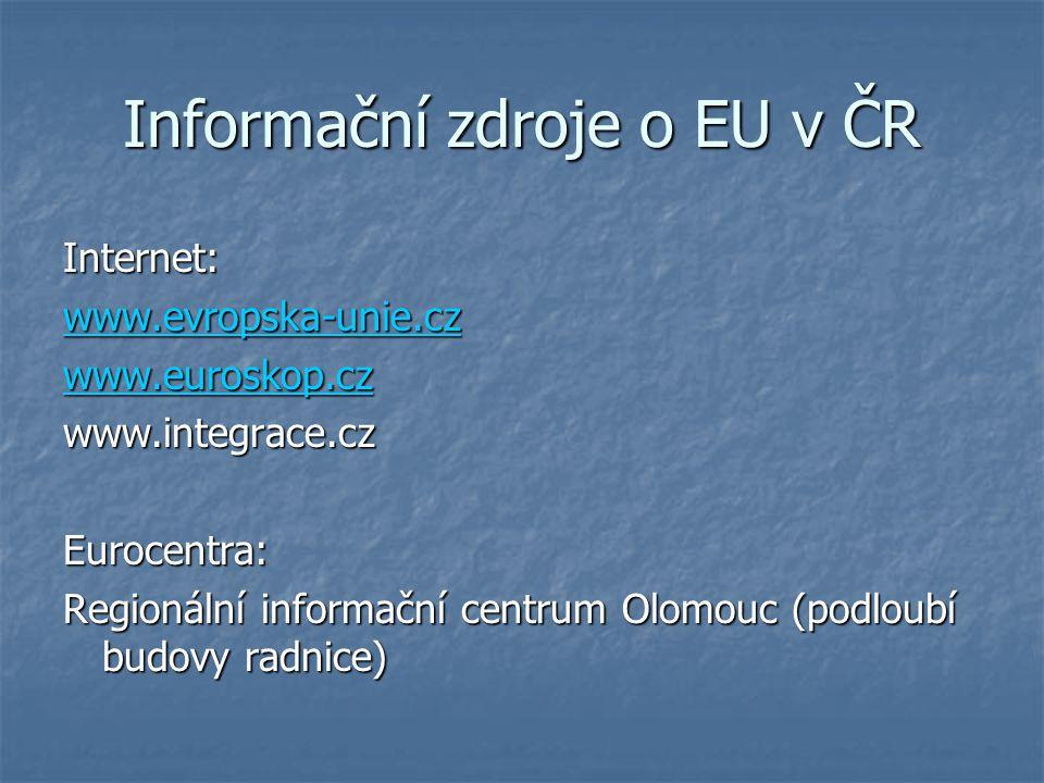 Informační zdroje o EU v ČR