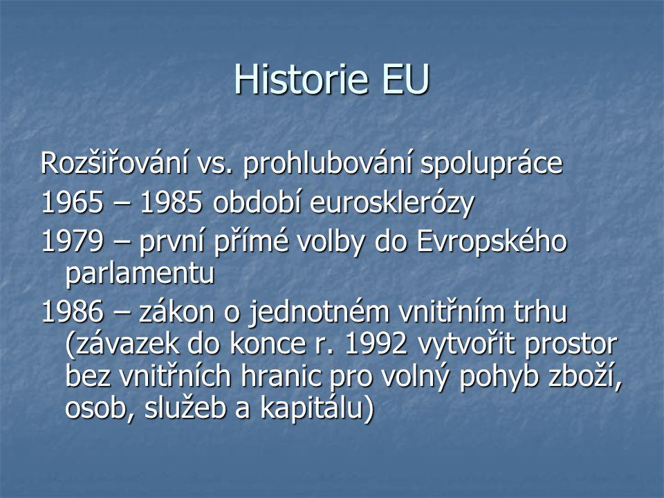 Historie EU Rozšiřování vs. prohlubování spolupráce