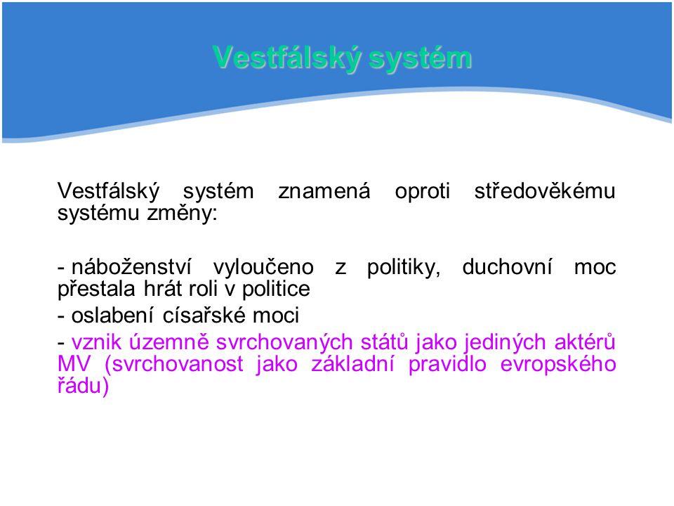 Vestfálský systém Vestfálský systém znamená oproti středověkému systému změny: