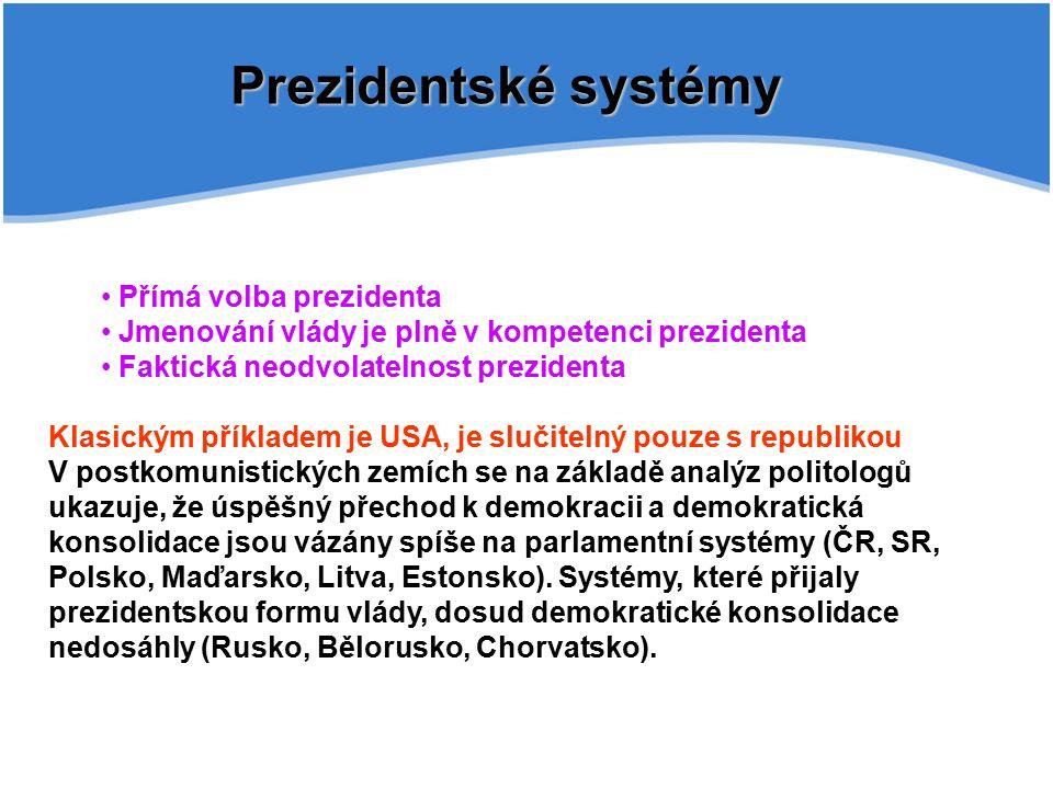Prezidentské systémy Přímá volba prezidenta