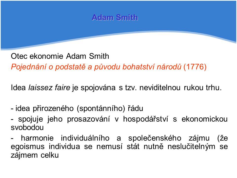 Adam Smith Otec ekonomie Adam Smith. Pojednání o podstatě a původu bohatství národů (1776)