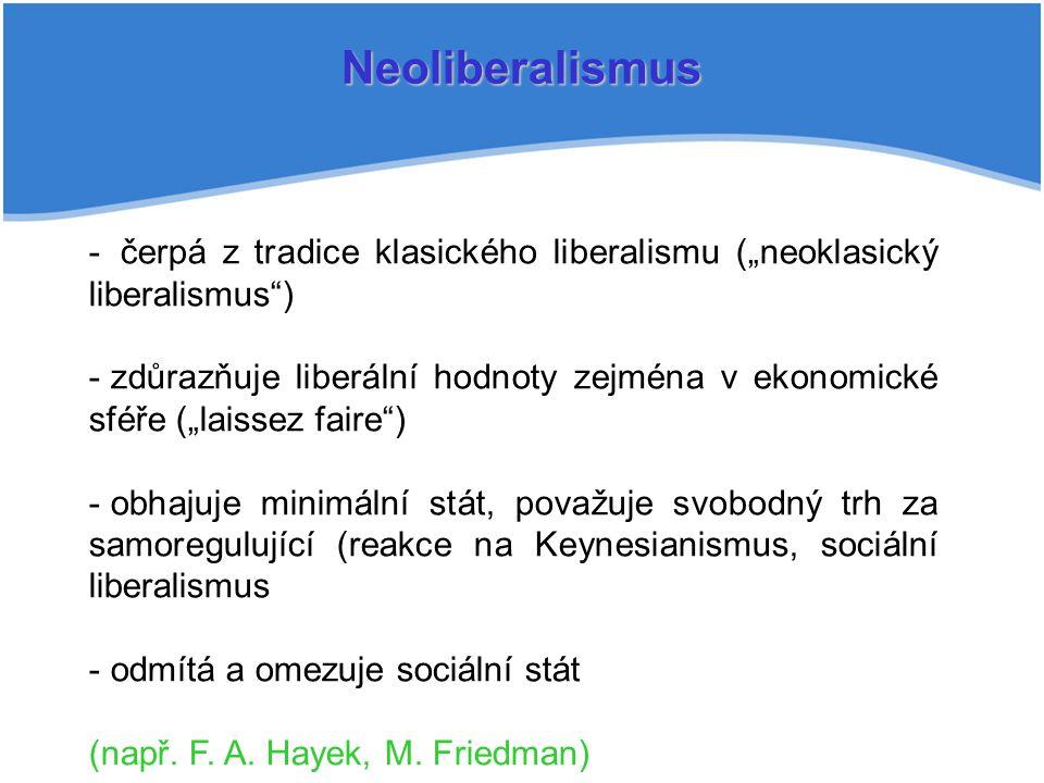 "Neoliberalismus čerpá z tradice klasického liberalismu (""neoklasický liberalismus )"