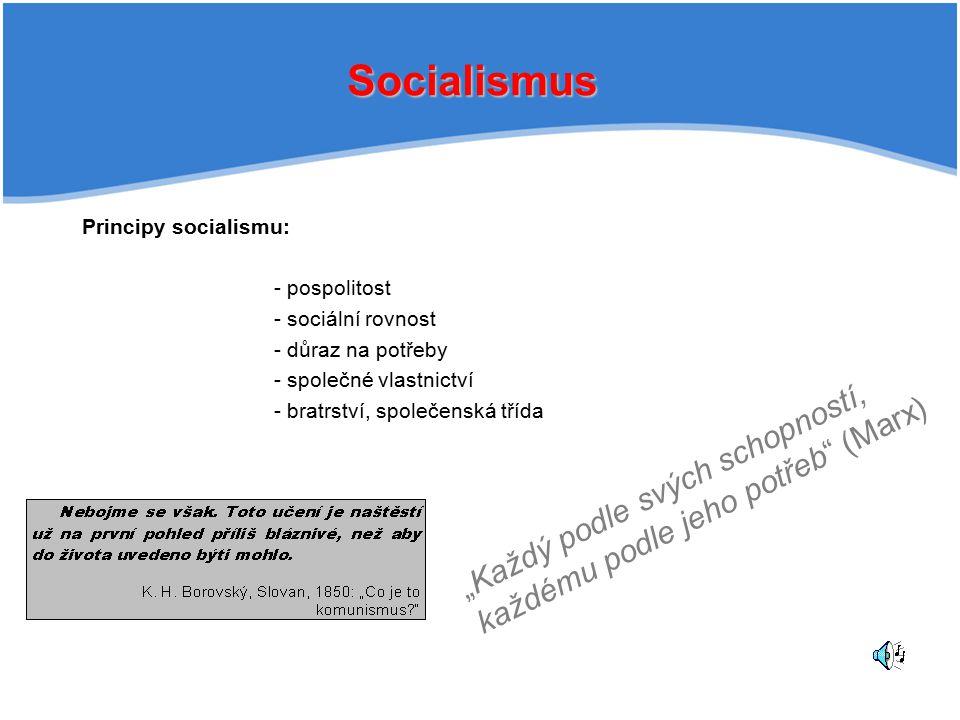 """Socialismus """"Každý podle svých schopností,"""
