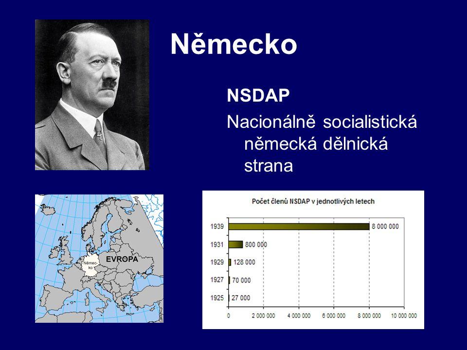 Německo NSDAP Nacionálně socialistická německá dělnická strana