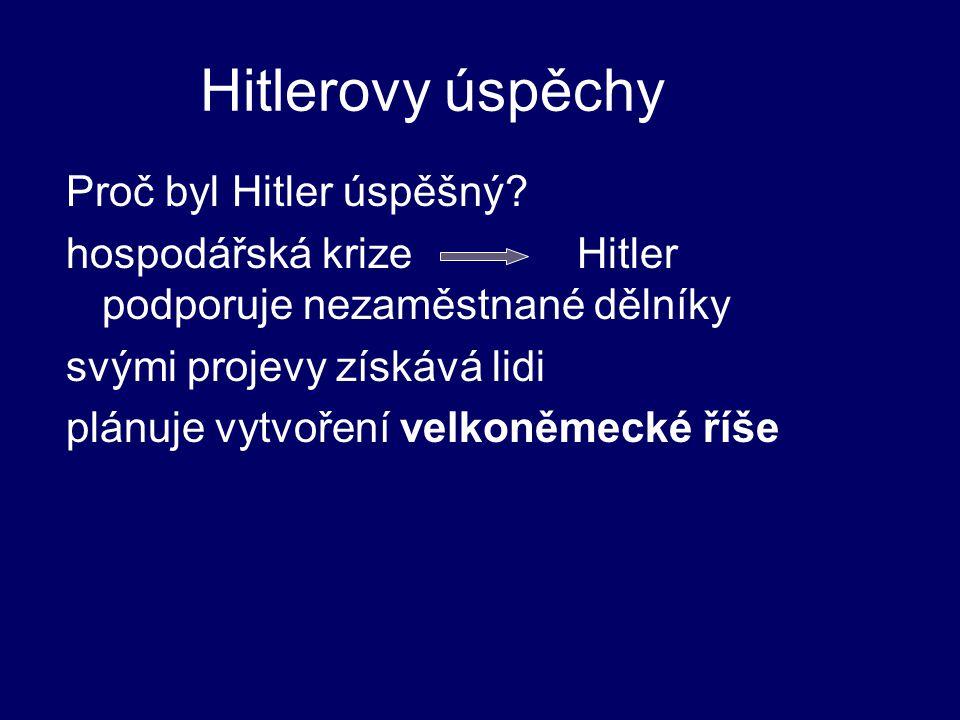 Hitlerovy úspěchy Proč byl Hitler úspěšný