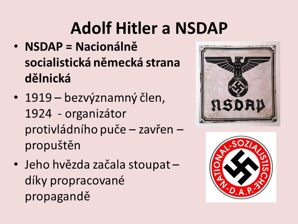 Adolf Hitler a NSDAP NSDAP = Nacionálně socialistická německá strana dělnická.