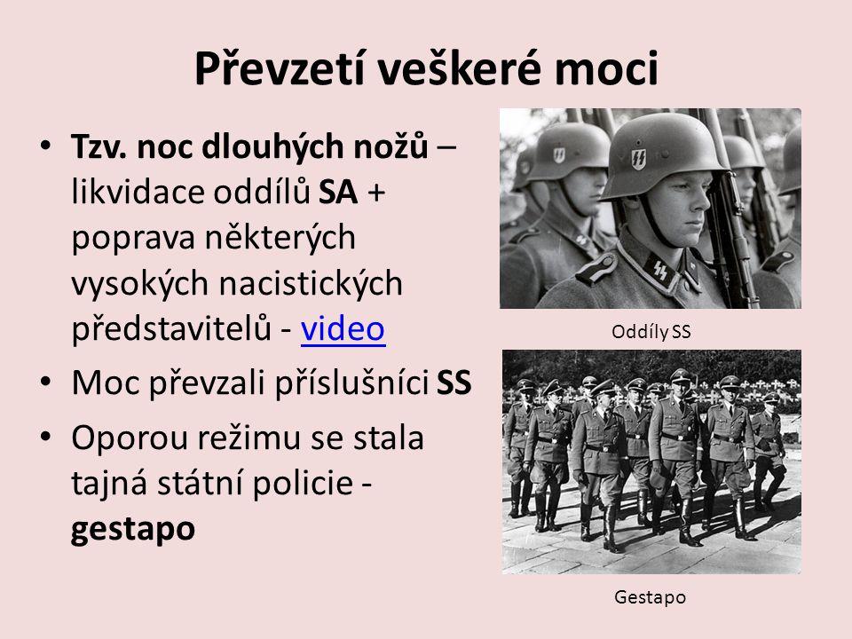 Převzetí veškeré moci Tzv. noc dlouhých nožů – likvidace oddílů SA + poprava některých vysokých nacistických představitelů - video.