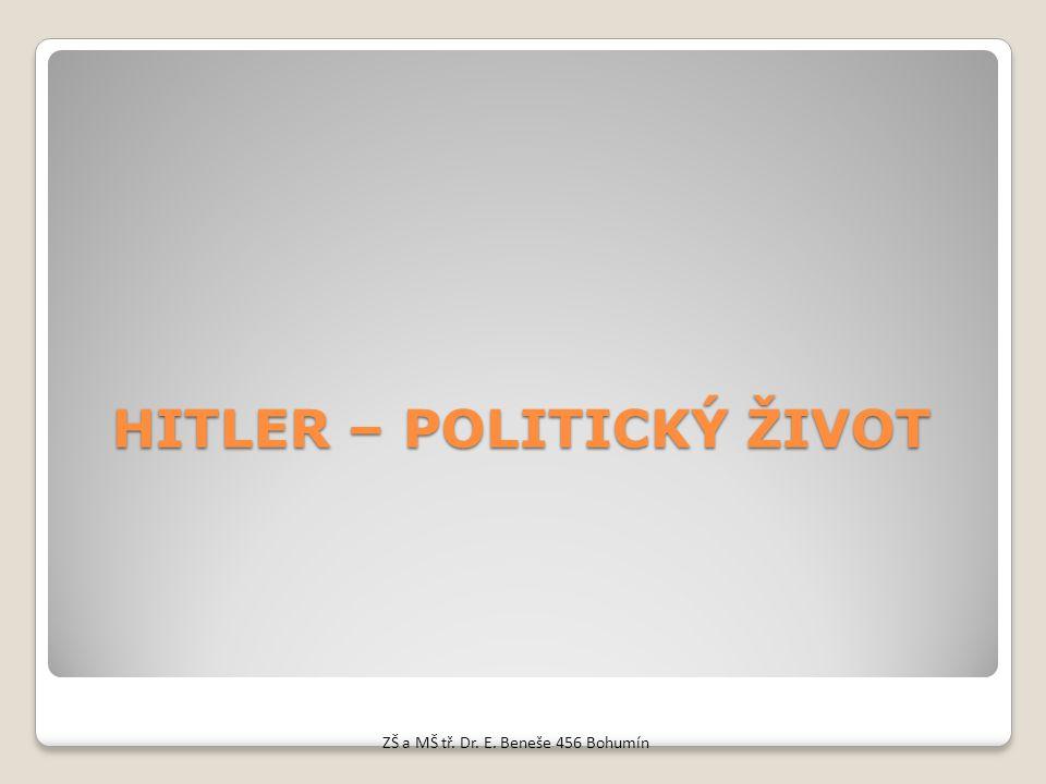 HITLER – POLITICKÝ ŽIVOT