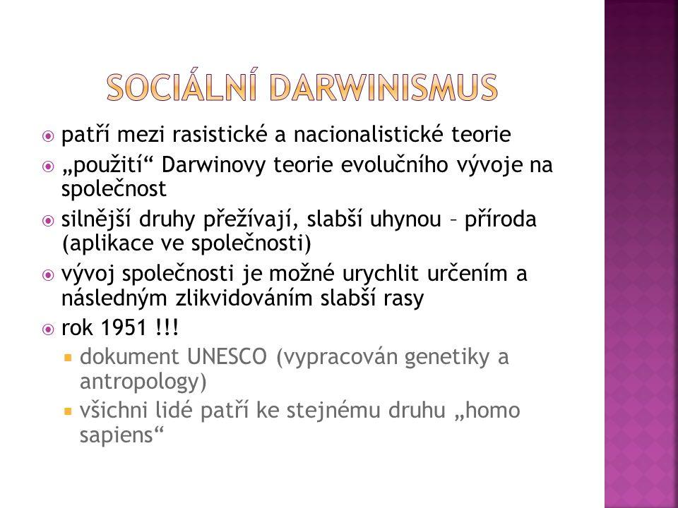 Sociální darwinismus patří mezi rasistické a nacionalistické teorie