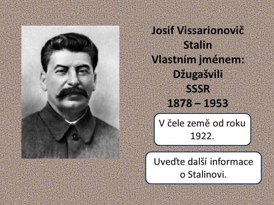 Josif Vissarionovič Stalin Vlastním jménem: Džugašvili