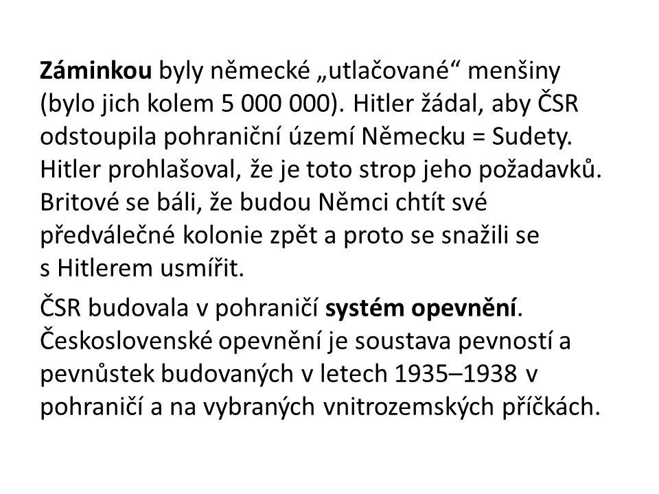 """Záminkou byly německé """"utlačované menšiny (bylo jich kolem 5 000 000)"""