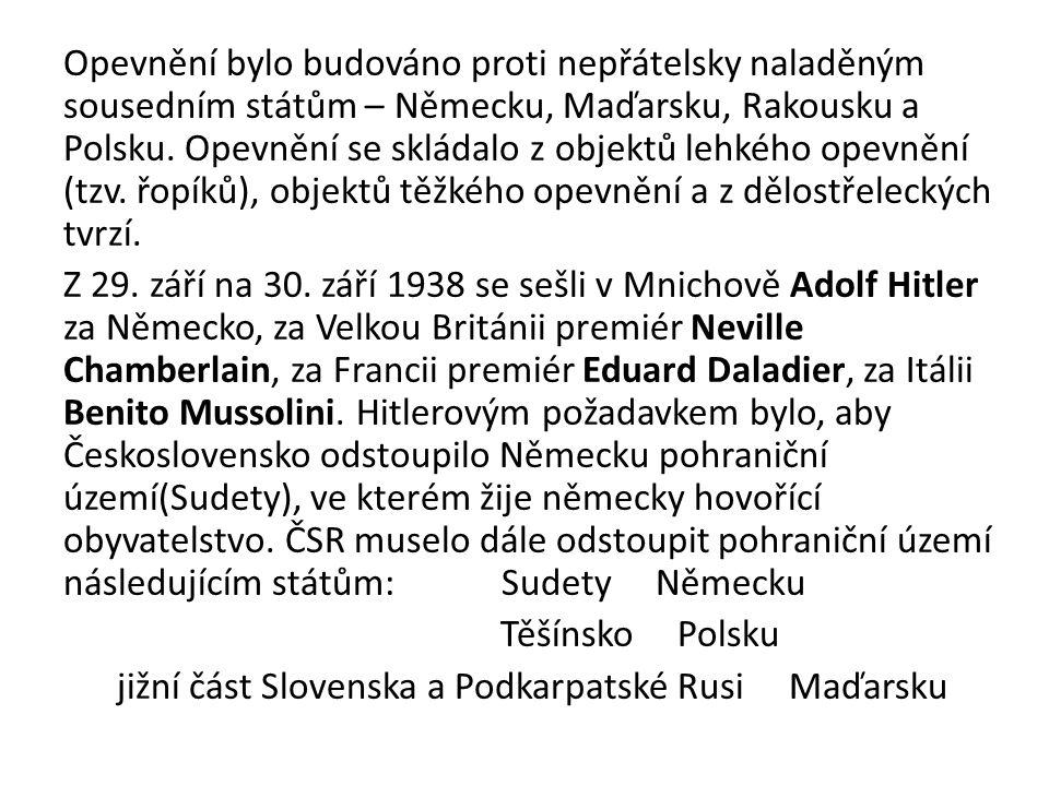 Opevnění bylo budováno proti nepřátelsky naladěným sousedním státům – Německu, Maďarsku, Rakousku a Polsku.