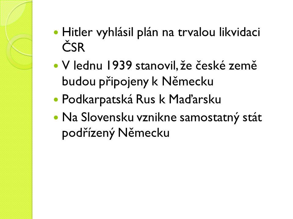 Hitler vyhlásil plán na trvalou likvidaci ČSR