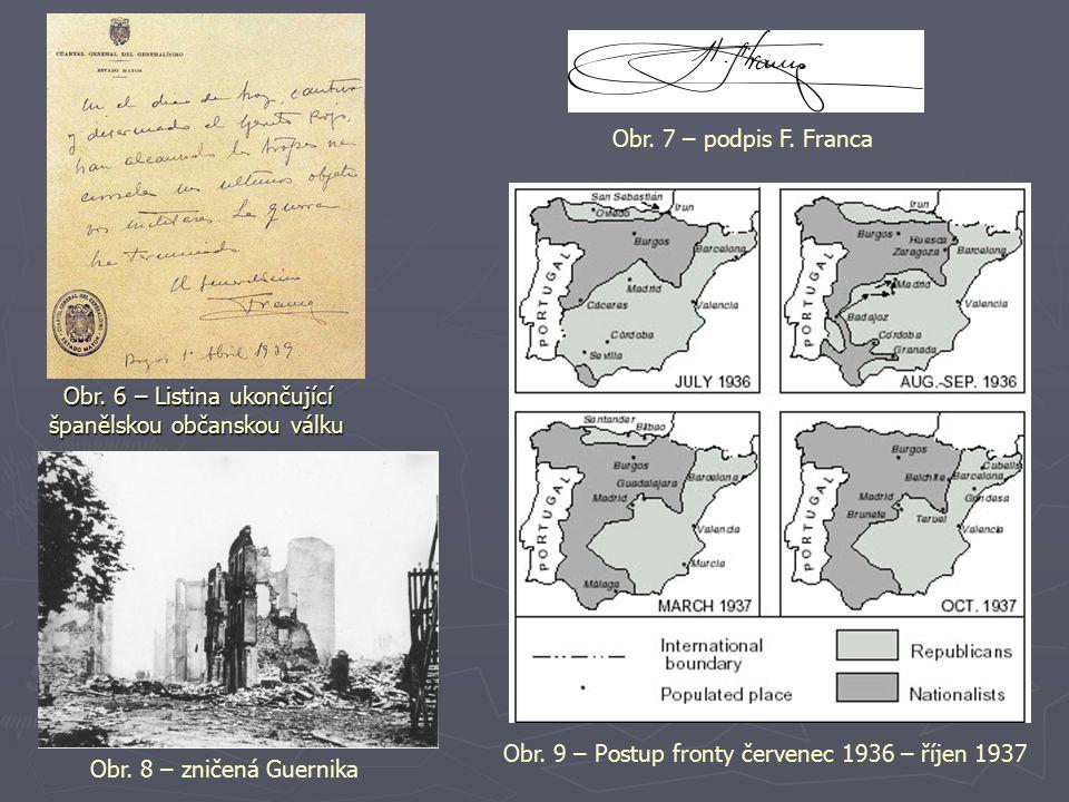 Obr. 7 – podpis F. Franca Obr. 6 – Listina ukončující španělskou občanskou válku. Obr. 9 – Postup fronty červenec 1936 – říjen 1937.