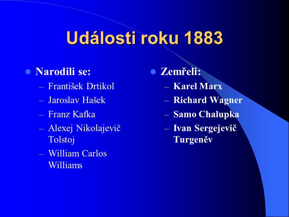 Události roku 1883 Narodili se: Zemřeli: František Drtikol