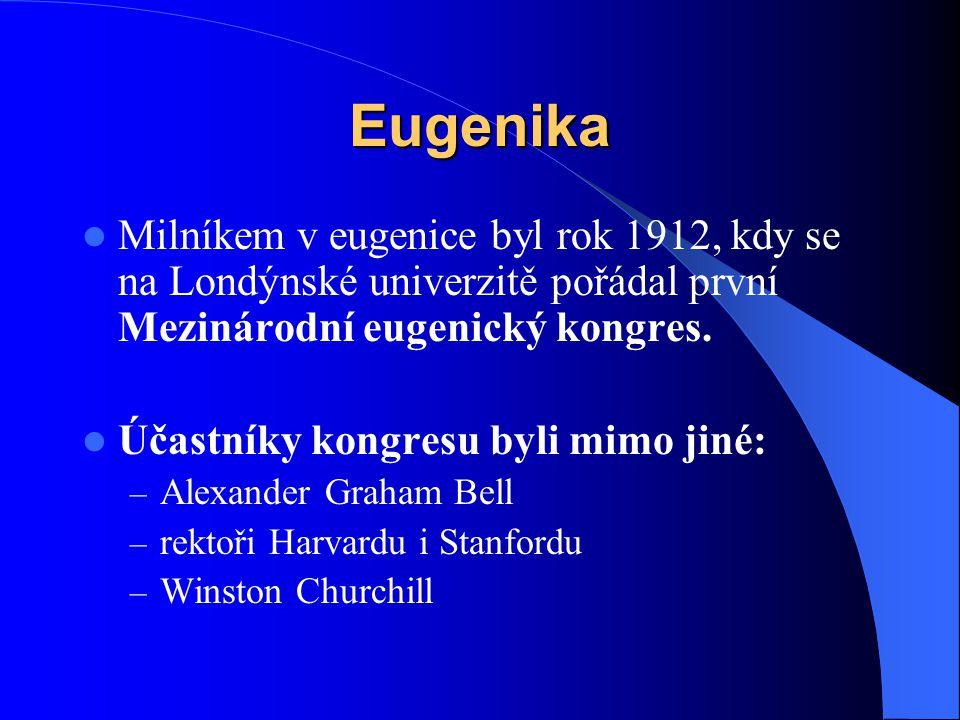 Eugenika Milníkem v eugenice byl rok 1912, kdy se na Londýnské univerzitě pořádal první Mezinárodní eugenický kongres.