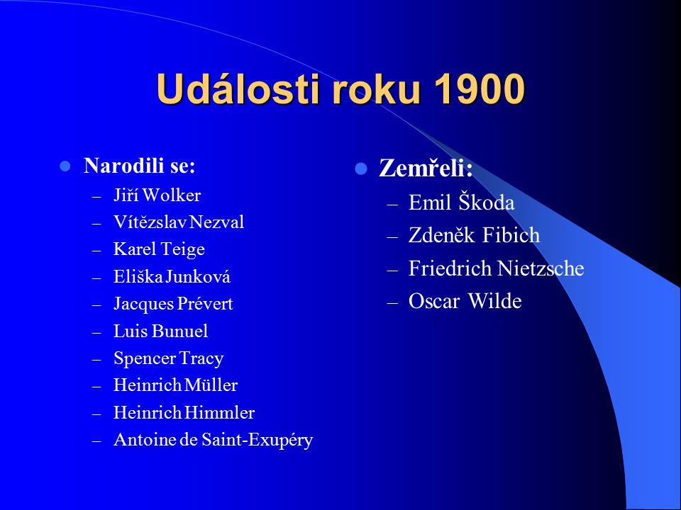 Události roku 1900 Zemřeli: Narodili se: Emil Škoda Zdeněk Fibich