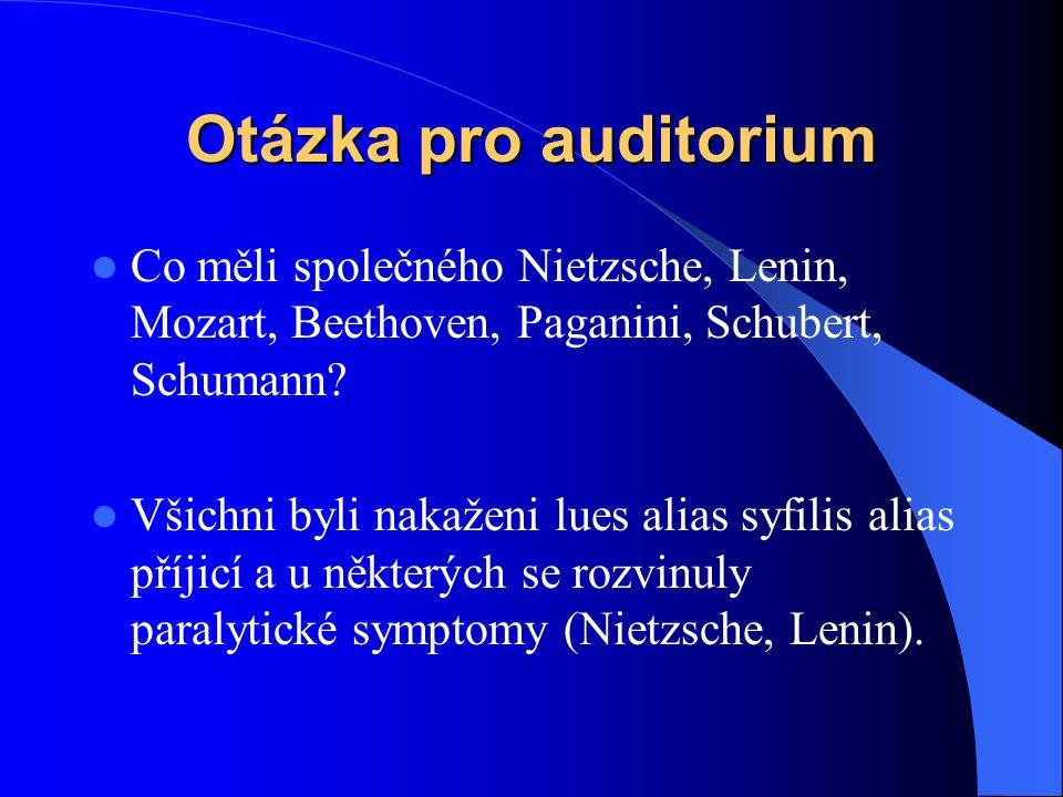 Otázka pro auditorium Co měli společného Nietzsche, Lenin, Mozart, Beethoven, Paganini, Schubert, Schumann
