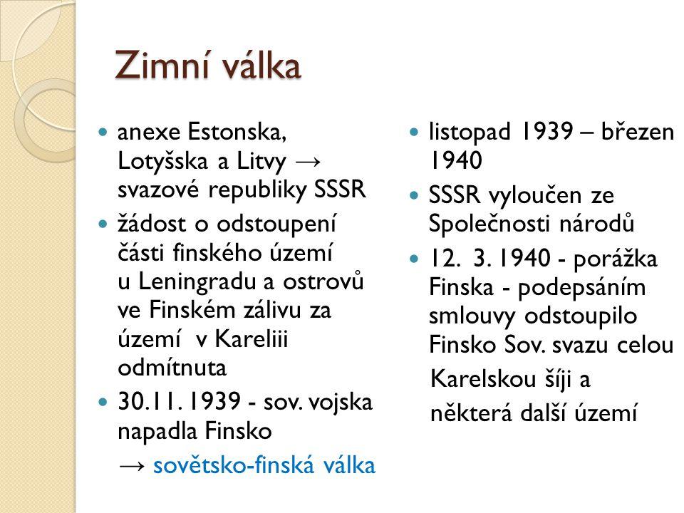 Zimní válka anexe Estonska, Lotyšska a Litvy → svazové republiky SSSR