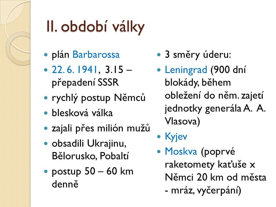 II. období války plán Barbarossa 22. 6. 1941, 3.15 – přepadení SSSR