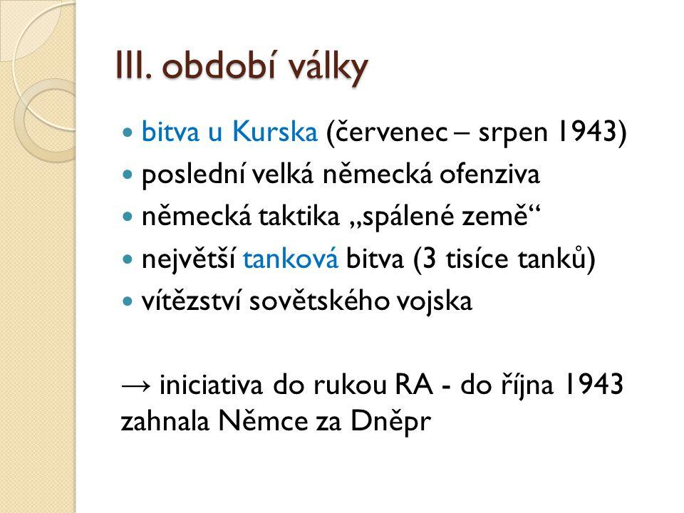 III. období války bitva u Kurska (červenec – srpen 1943)