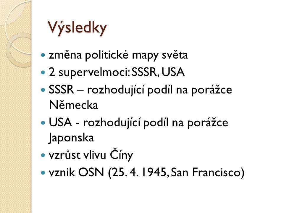 Výsledky změna politické mapy světa 2 supervelmoci: SSSR, USA