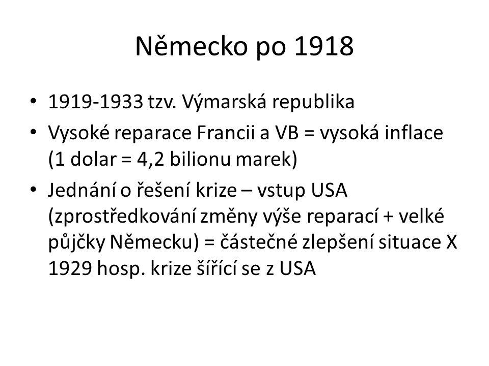 Německo po 1918 1919-1933 tzv. Výmarská republika