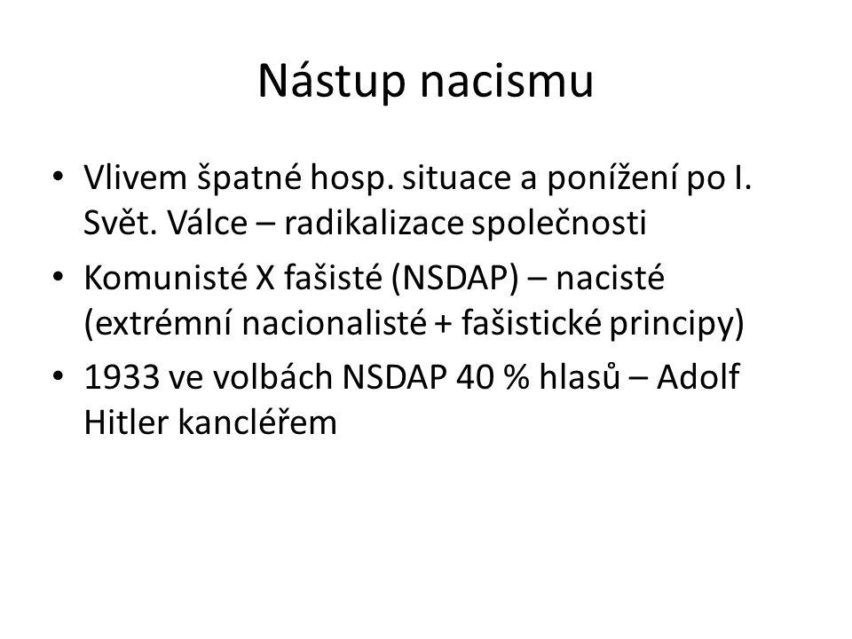 Nástup nacismu Vlivem špatné hosp. situace a ponížení po I. Svět. Válce – radikalizace společnosti.