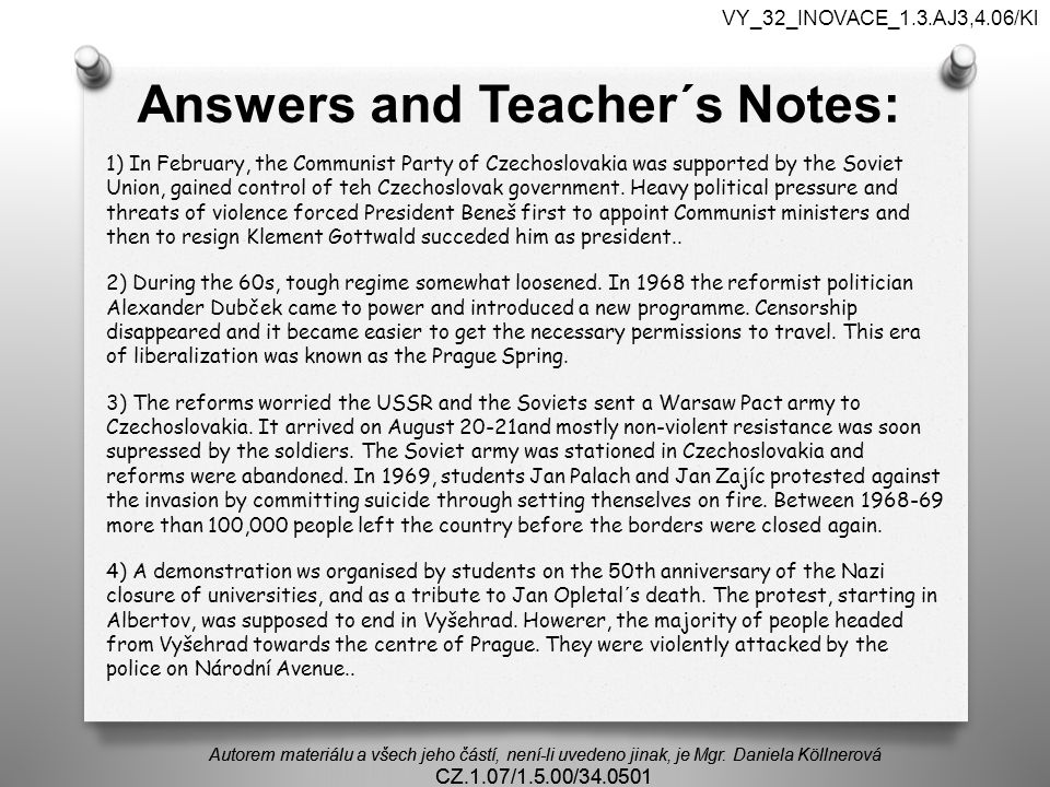 Answers and Teacher´s Notes: