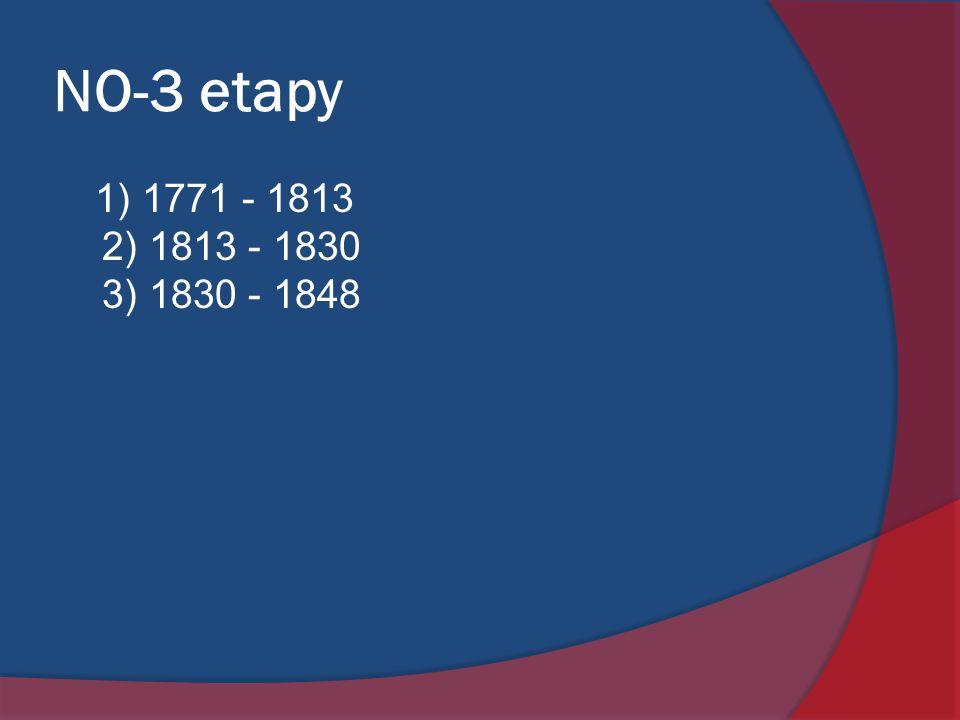 NO-3 etapy 1) 1771 - 1813 2) 1813 - 1830 3) 1830 - 1848