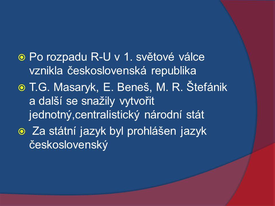 Po rozpadu R-U v 1. světové válce vznikla československá republika