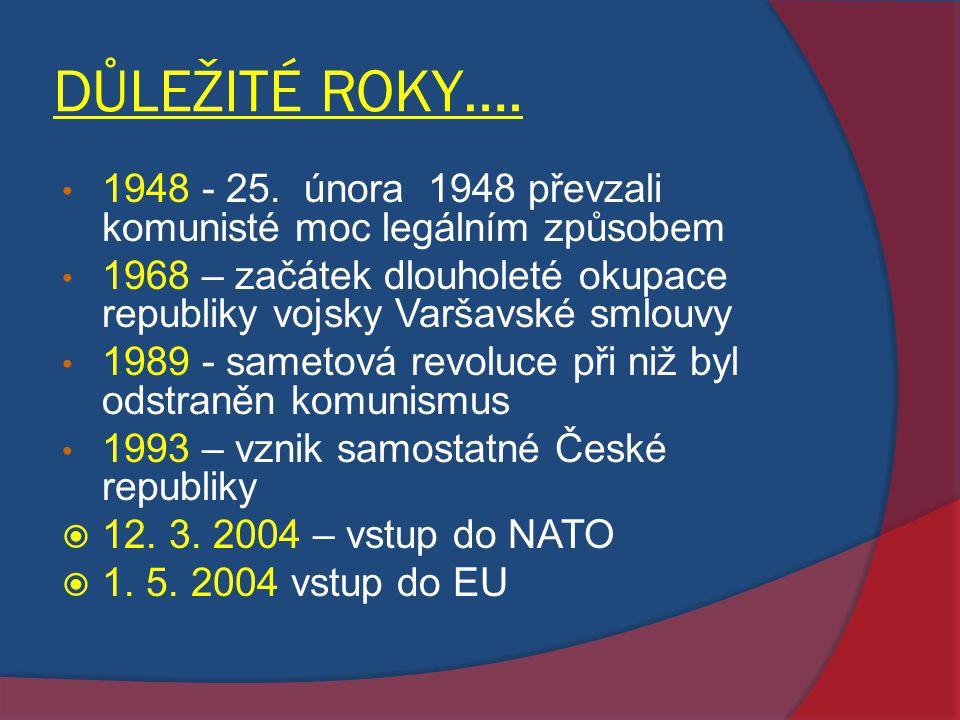 DŮLEŽITÉ ROKY…. 1948 - 25. února 1948 převzali komunisté moc legálním způsobem.
